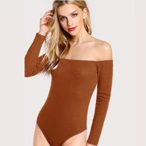 ONE CLOTHING Solid Bardot Neck Bodysuit